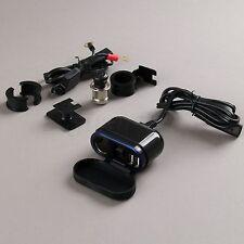 12V 24V Motorcycle Handlebar Dual USB Power Outlet Socket Cigarette Lighter Set