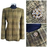 Vintage 90s Viyella Green Wool Tweed coat with golden buttons size 12