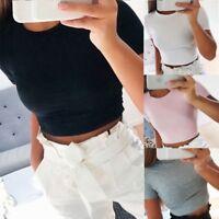 Summer Slim Tight Short Sleeved T-shirt Sexy Women Sleeveless Solid Crop Tops