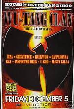 WU-TANG CLAN SAN DIEGO 2008 CONCERT TOUR POSTER-HIP HOP