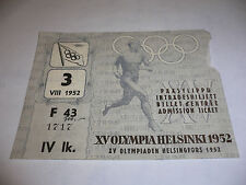 1952 OLYMPIC GAMES HELSINKI Finland CLOSING CEREMONY ORIGINAL TICKET 3 VIII 1952