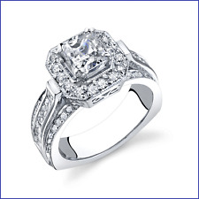 Princess Cut & Halo Design; 1.15ct Diamond PLATINUM Engagement Semi Mount