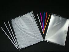 "CAKE POP 50 X 3.5"" WHITE PLASTIC STICKS 3.5"" x 5"" CELLO BAGS & TWIST TIES"