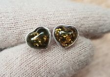 Sterling silver and amber large heart shaped bezel set stud earrings