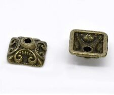 "20 Bronze Square FLOWER BEAD CAPS 3/8"" (10mm) Findings (13156)"
