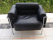 PRISTINE VINTAGE BLACK LEATHER & CHROME CORBUSIER CHAIRS (4) KNOLL HERMAN MILLER