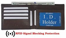 RFID Blocking Mens Leather Front Pocket Wallet Thin Slimfold Bifold Brown