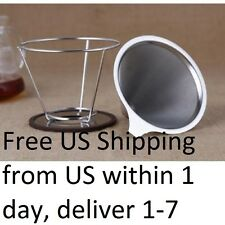 Pour Over Stainless Steel Coffee Filter Reusable Double Cone Dripper w Cup Stand