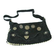 Aridza Bross Black Suede Shoulder Bag Purse Embellished Western Metal Studs Boho