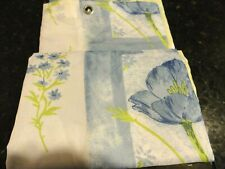new fabric SHOWER CURTAIN Blue White Green WILD FLOWERS~LEAVES Geometric squares