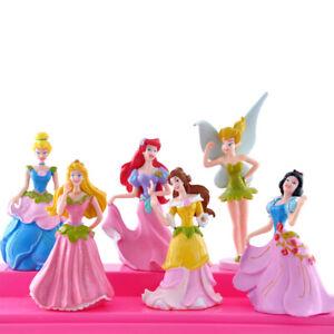 6PCS/Set Princess Toy Cake Topper Cinderella Snow White Belle Figures toy Gift