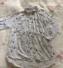 Beautiful WHITE STUFF Peter Pan Collar Birds Butterflies Blouse -size 10 White
