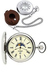 Jean Pierre Half Hunter MOON Dial Orologio da taschino Cromato Incisione Gratis D6
