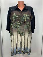 CAMPIA MODA Hawaiian Shirt  Short Sleeve Palms Coconut trees Rayon button XL
