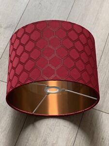 new luxury HQ dark red geometric silk fabric with copper lamp shade pendant shad