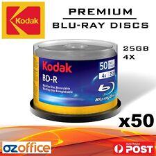 50 x KODAK Blank Blu-Ray Discs 25GB BDR 4X White Inkjet Printable Disc