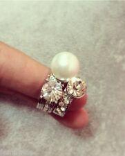 FemNmas Three Zircon Pearl Crystal Ring Set