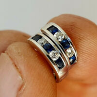 1.50 Ct Round Cut Diamond & Sapphire Hoop Huggie Earrings 14k White Gold Finish