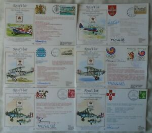 GB RAF Aviation 6 flown signed covers - Royal Visit Limited Editions 1988-89 vgc