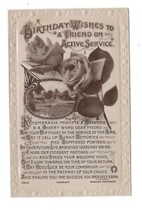 Vintage WW1 postcard Birthday Wishes to a Friend on Active Serivice, A.S.Andrews