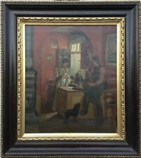Hans Hessellund (1851-1907) Genreszene - Privé Moment dans Guest House - 86 X 77
