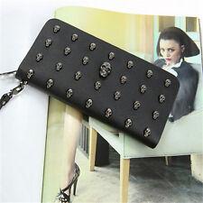 Lady Women Leather Clutch Wallet Skull Rivet Long Card Holder Case Purse Handbag