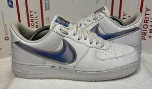 Nike Air Force 1 Low Oversized Swoosh White Racer Blue AO2441-101 Men's Size 10