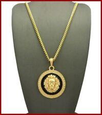 Gold Cuban Link Chain Lion Black Rawr Feline Animal Pendant Hip Hop Necklace