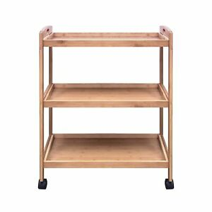Bamboo 3 Tier Kitchen Storage Rack Serving Trolley Island Cart With Wheels