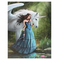 UNICORN 'ENCHANTED POOL' CANVAS MYTHICAL MAGICAL PLAQUE BY ANNE STOKES WALL ART