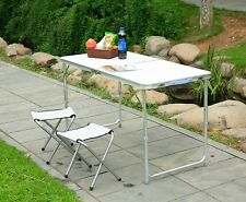 4ft Folding Camping Table Aluminium Picnic Portable Adjustable for BBQ Outdoor