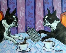 boston terrier dog tea room art 8x10 signed art artist print gift impressionism