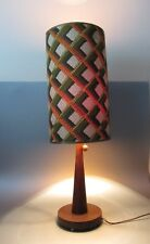 Vintage Wood modern Teak Table lamp Cardboard Shade Geometric Mid Century 1970's