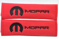 Black on Red Embroidery Chrysler Mopar Pair of Seat Belt Cover Shoulder Pad