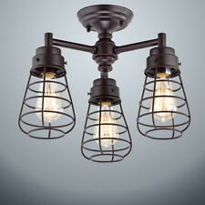 Vintage Metal Cage 3-Lights Chandelier Semi Flush Mount Ceiling Light Lamp