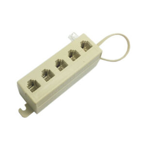 5 Way Outlet 6P4C RJ11 RJ12 Tele Phone Modular Jack Line Splitter Adapter