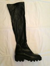 Vic Matie Free People black over the knee boots 41 10 stretch leather notch sole