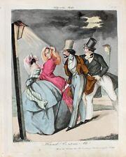 Wien Biedermeier Monokel Schreck Zylinder Nacht Dame Flirt Laterne Karikatur