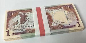 Trinidad & Tobago 1 Dollar 2006 P 46A UNC Lot 100 Pcs = 1 Bundle
