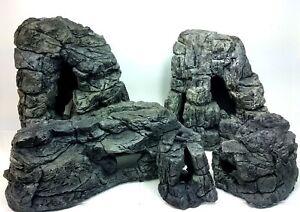 Aquarium Caves Grey Rocks Decoration For Fish Tank Terraarium Reptiles SET 5