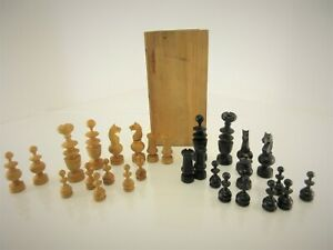 """Antique Early 1900's FRENCH REGENCY WOOD CHESS 28 Replacement Pieces 2 3/4"""" King"""