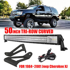 "50"" 2808W Tri Curved LED Light Bar+Mount Bracket For Jeep Cherokee XJ 1984-2001"