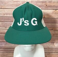 J's G New Era Baseball Cap Snap Back Trucker Hat Vintage Green White