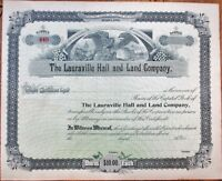 Lauraville Hall & Land Co. 1890 Stock Certificate - Baltimore, MD Maryland