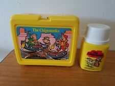 Vintage The Chipmunks 1984 Yellow Plastic Lunch Box Complete with 8oz Thermos