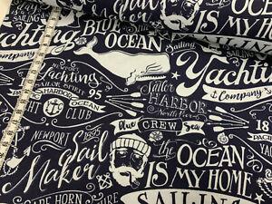 Jersey - Maritim - diverse Motive - Sailing - Wal - wollweiß auf dunkelblau
