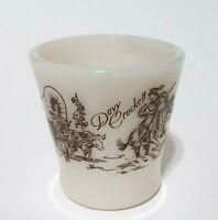Vintage Anchor Hocking Fire King Davy Crockett Milk Glass Mug Covered Wagon