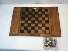Vtg Budweiser Wood Crate Lid w/ Checkerboard Rare Original Checkers Bottle Caps