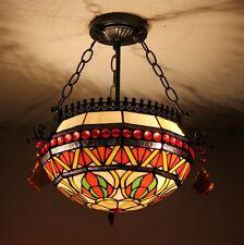 2 Lights Retro Vintage Lotus Flower Tiffany Up Pendant Light Glass Shade 60W