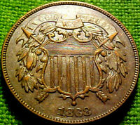 1868 Two Cent Piece 2c ~BETTER DATE~ HIGHER GRADE COlN w/ SOLID DETAILS ~ 90AJ